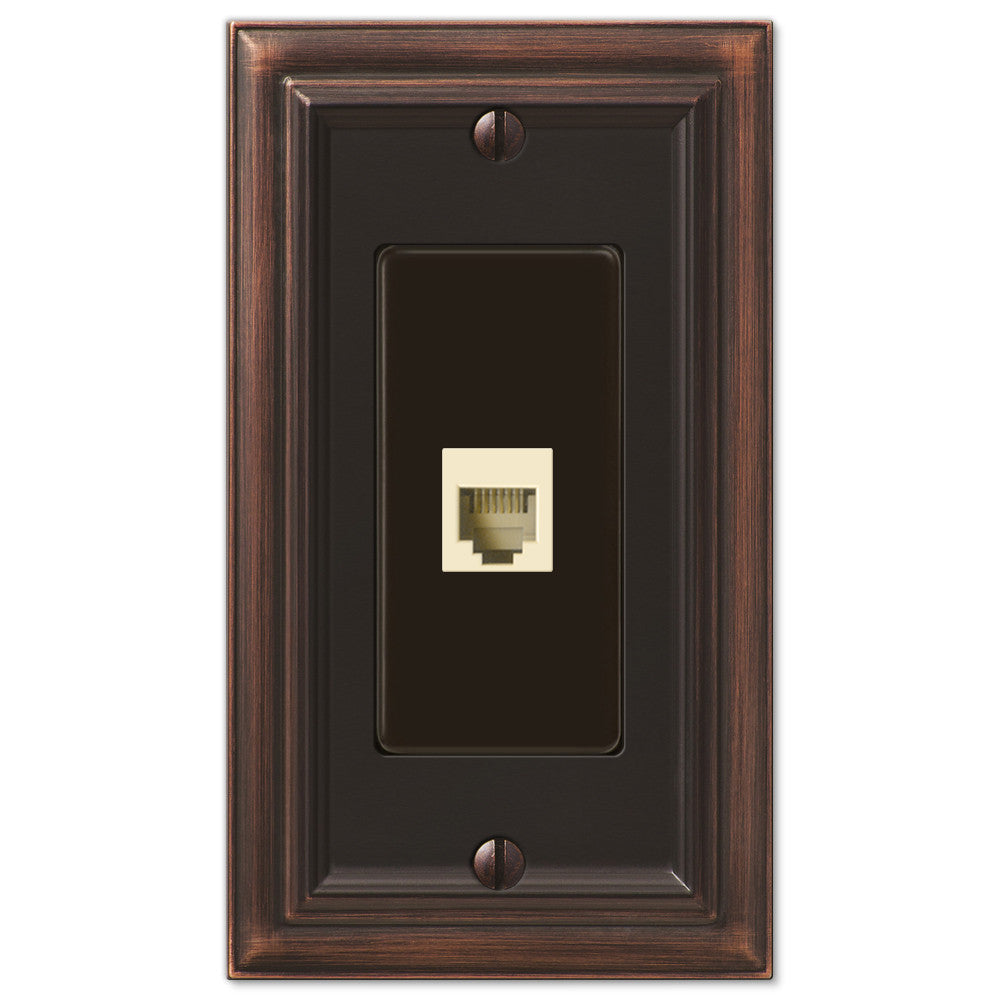 Continental Aged Bronze Cast - 1 Phone Jack Wallplate - Wallplate Warehouse