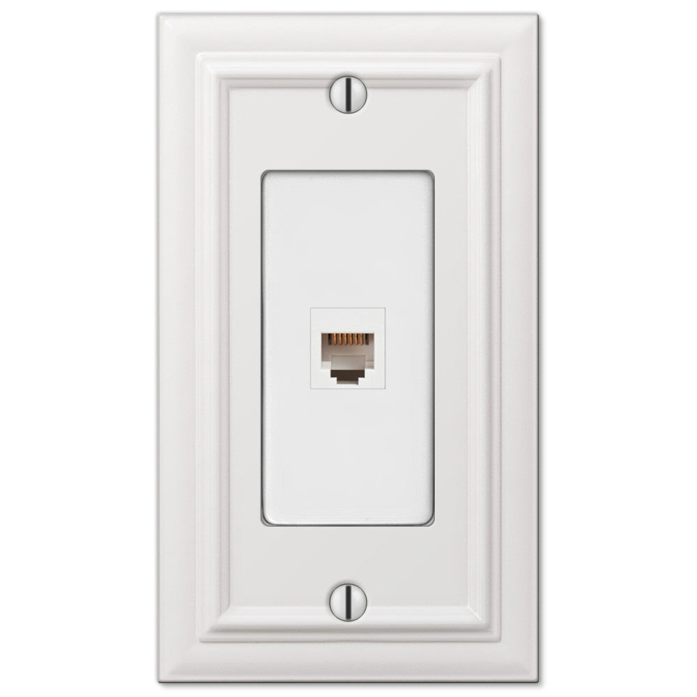 Continental White Cast - 1 Phone Jack Wallplate - Wallplate Warehouse