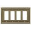 Continental Brushed Brass Cast - 4 Rocker Wallplate - Wallplate Warehouse