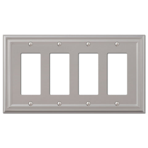 Continental Satin Nickel Cast - 4 Rocker Wallplate - Wallplate Warehouse