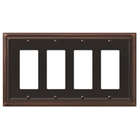 Continental Aged Bronze Cast - 4 Rocker Wallplate - Wallplate Warehouse