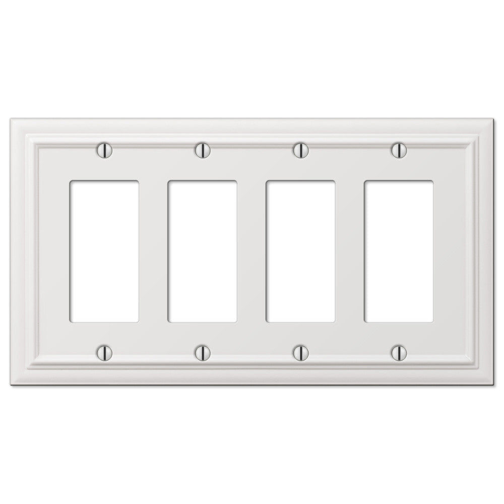 Continental White Cast - 4 Rocker Wallplate - Wallplate Warehouse