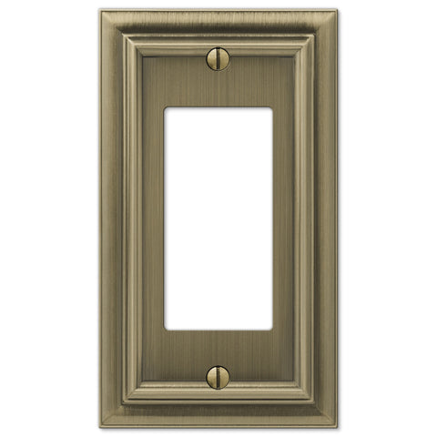 Continental Brushed Brass Cast - 1 Rocker Wallplate - Wallplate Warehouse