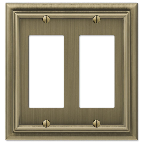 Continental Brushed Brass Cast - 2 Rocker Wallplate - Wallplate Warehouse