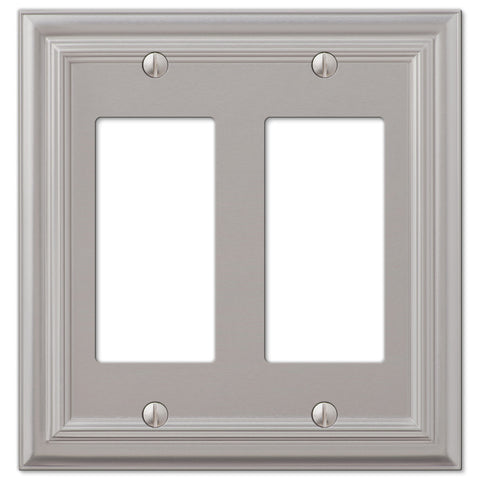 Continental Satin Nickel Cast - 2 Rocker Wallplate - Wallplate Warehouse
