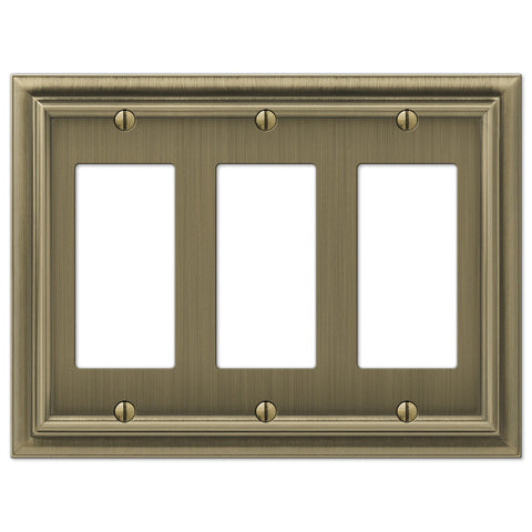 Continental Brushed Brass Cast - 3 Rocker Wallplate - Wallplate Warehouse
