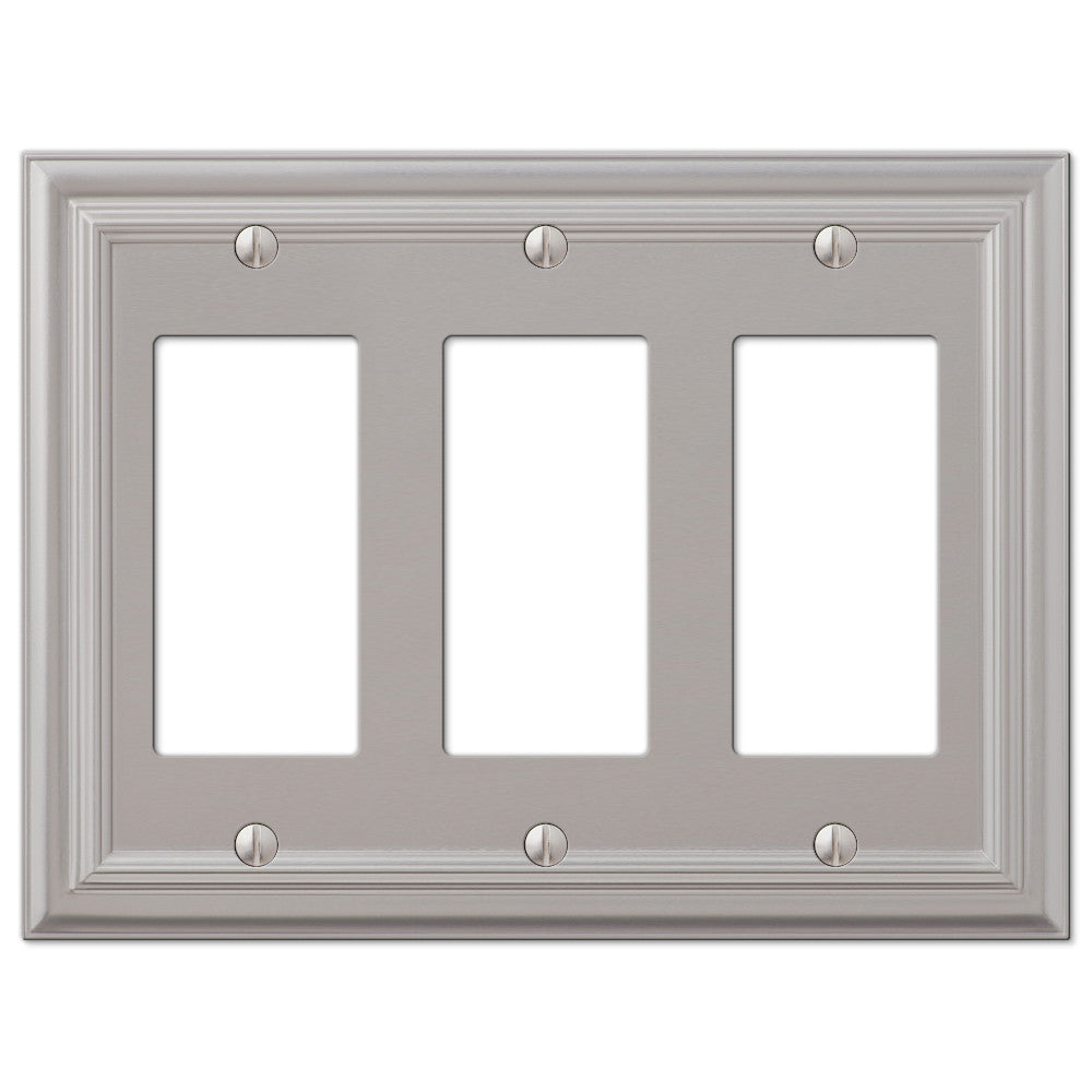 Continental Satin Nickel Cast - 3 Rocker Wallplate - Wallplate Warehouse