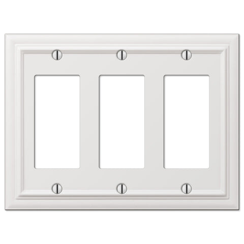 Continental White Cast - 3 Rocker Wallplate - Wallplate Warehouse