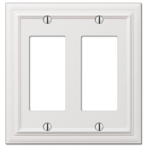 Continental White Cast - 2 Rocker Wallplate - Wallplate Warehouse