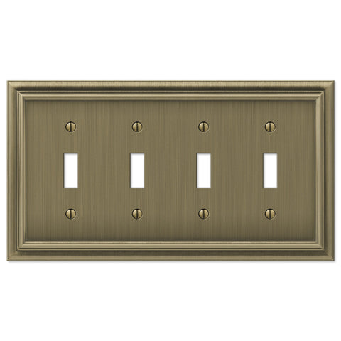 Continental Brushed Brass Cast - 4 Toggle Wallplate - Wallplate Warehouse