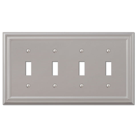 Continental Satin Nickel Cast - 4 Toggle Wallplate - Wallplate Warehouse