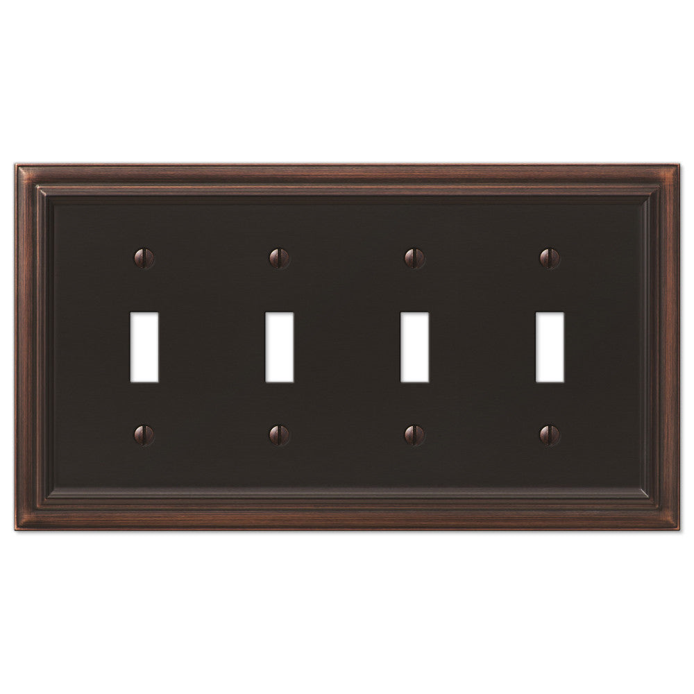 Continental Aged Bronze Cast - 4 Toggle Wallplate - Wallplate Warehouse