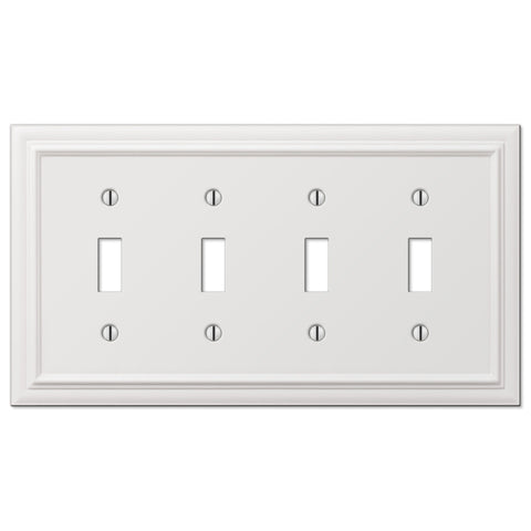 Continental White Cast - 4 Toggle Wallplate - Wallplate Warehouse