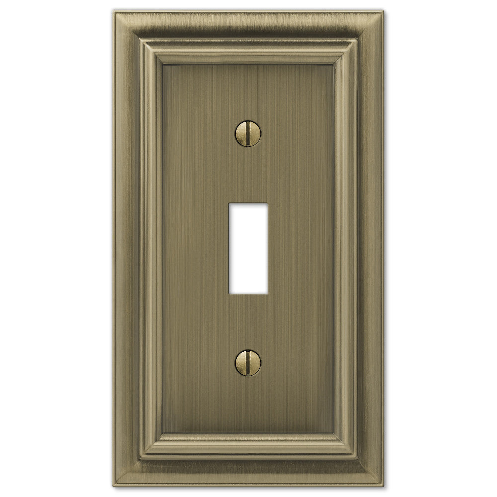 Continental Brushed Brass Cast - 1 Toggle Wallplate - Wallplate Warehouse