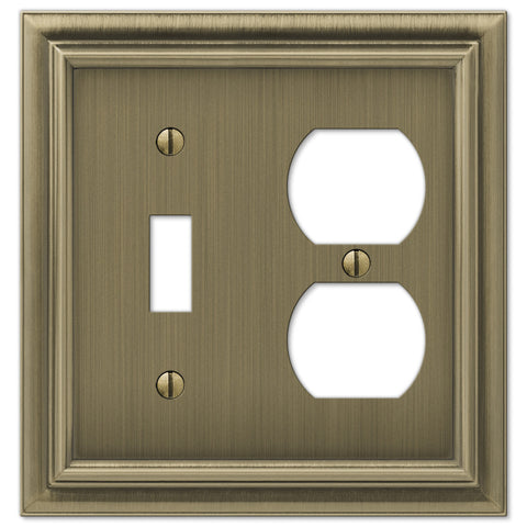 Continental Brushed Brass Cast - 1 Toggle / 1 Duplex Outlet Wallplate - Wallplate Warehouse