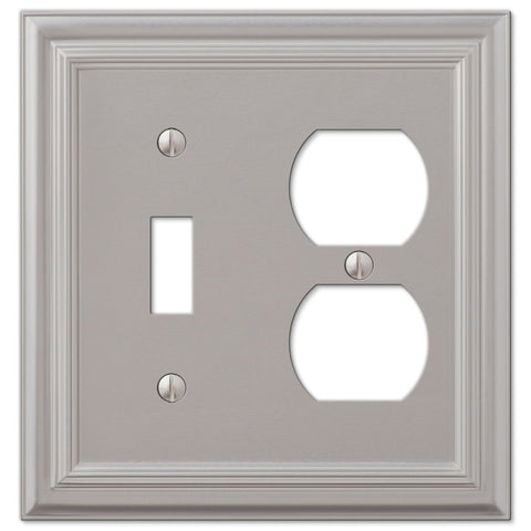 Continental Satin Nickel Cast - 1 Toggle / 1 Duplex Outlet Wallplate - Wallplate Warehouse