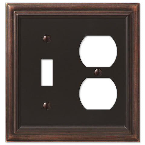 Continental Aged Bronze Cast - 1 Toggle / 1 Duplex Outlet Wallplate - Wallplate Warehouse