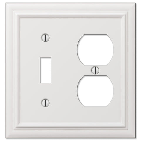 Continental White Cast - 1 Toggle / 1 Duplex Outlet Wallplate - Wallplate Warehouse