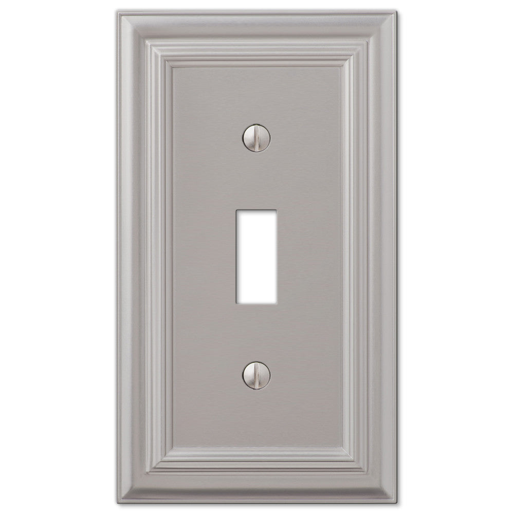 Continental Satin Nickel Cast - 1 Toggle Wallplate - Wallplate Warehouse