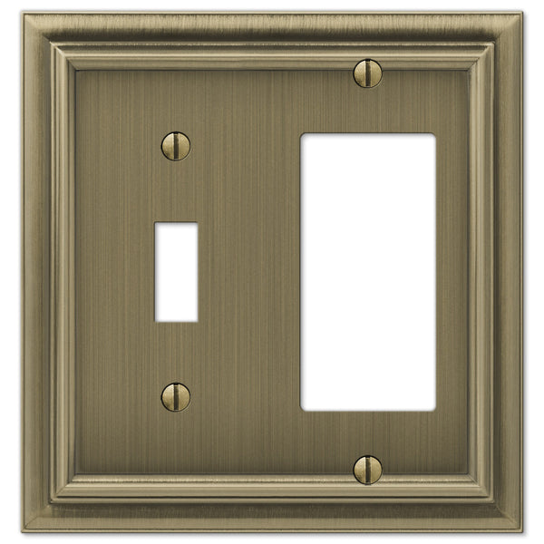 Continental Brushed Brass Cast - 1 Toggle / 1 Rocker Wallplate - Wallplate Warehouse