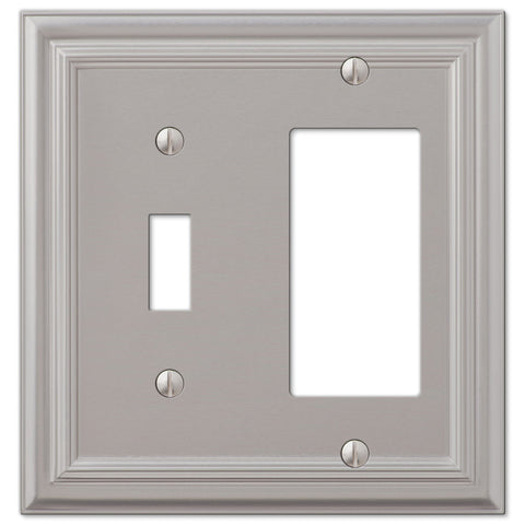 Continental Satin Nickel Cast - 1 Toggle / 1 Rocker Wallplate - Wallplate Warehouse