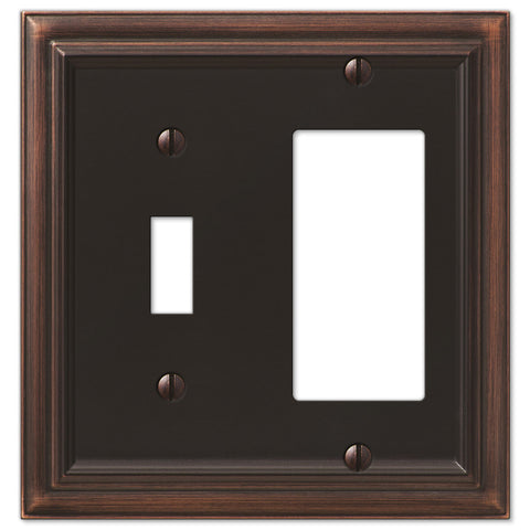 Continental Aged Bronze Cast - 1 Toggle / 1 Rocker Wallplate - Wallplate Warehouse