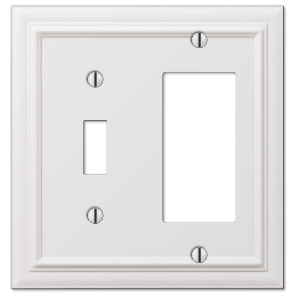 Continental White Cast - 1 Toggle / 1 Rocker Wallplate - Wallplate Warehouse