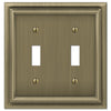 Continental Brushed Brass Cast - 2 Toggle Wallplate - Wallplate Warehouse
