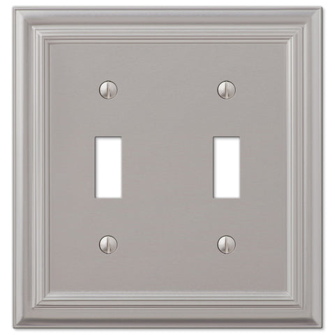 Continental Satin Nickel Cast - 2 Toggle Wallplate - Wallplate Warehouse