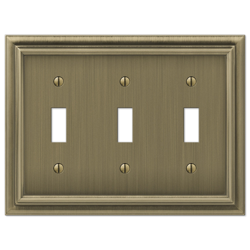 Continental Brushed Brass Cast - 3 Toggle Wallplate - Wallplate Warehouse