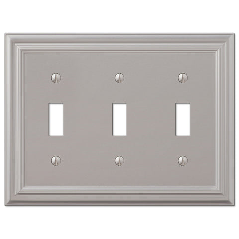 Continental Satin Nickel Cast - 3 Toggle Wallplate - Wallplate Warehouse