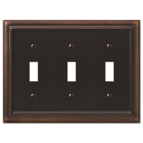 Continental Aged Bronze Cast - 3 Toggle Wallplate - Wallplate Warehouse