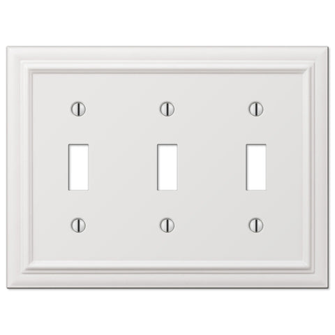 Continental White Cast - 3 Toggle Wallplate - Wallplate Warehouse