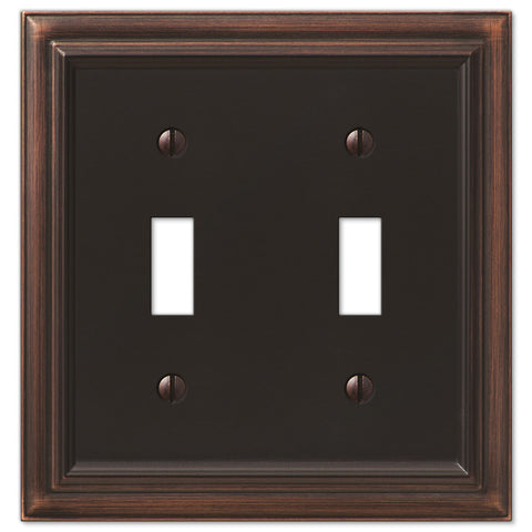 Continental Aged Bronze Cast - 2 Toggle Wallplate - Wallplate Warehouse