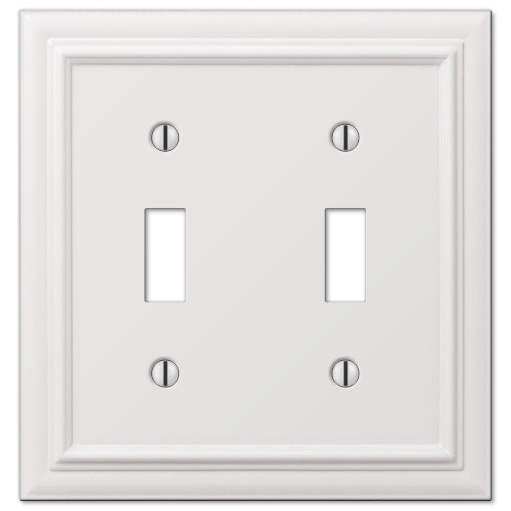 Continental White Cast - 2 Toggle Wallplate - Wallplate Warehouse