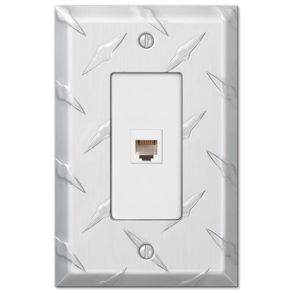 Diamond Plate Aluminum - 1 Phone Jack Wallplate - Wallplate Warehouse
