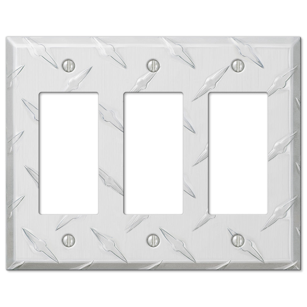 Diamond Plate Aluminum - 3 Rocker Wallplate - Wallplate Warehouse