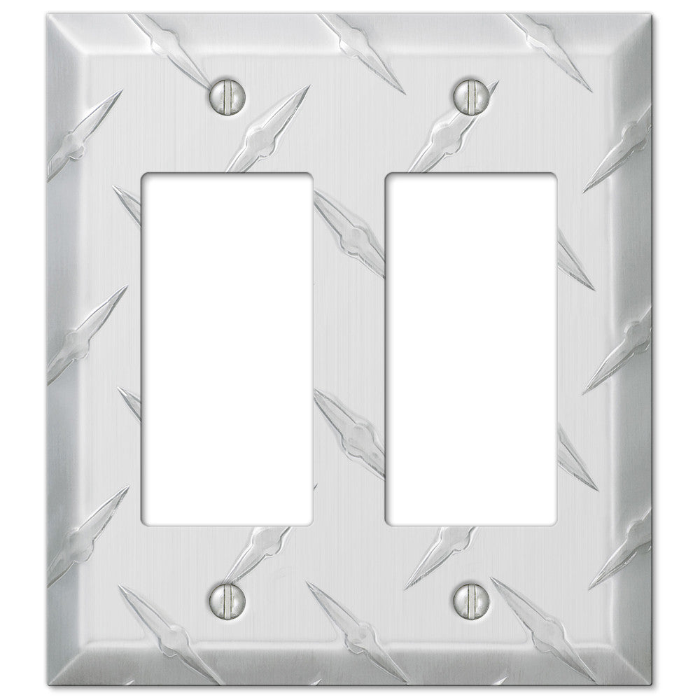 Diamond Plate Aluminum - 2 Rocker Wallplate - Wallplate Warehouse