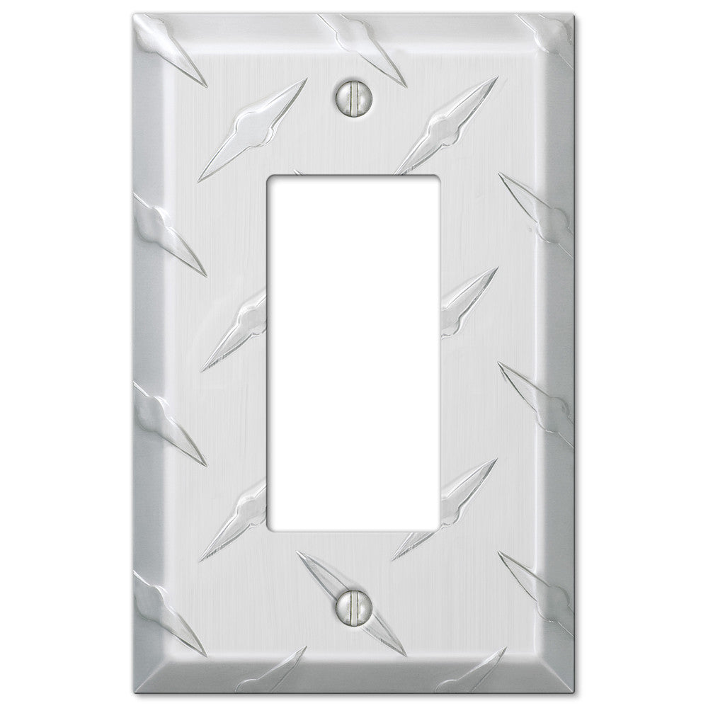 Diamond Plate Aluminum - 1 Rocker Wallplate - Wallplate Warehouse