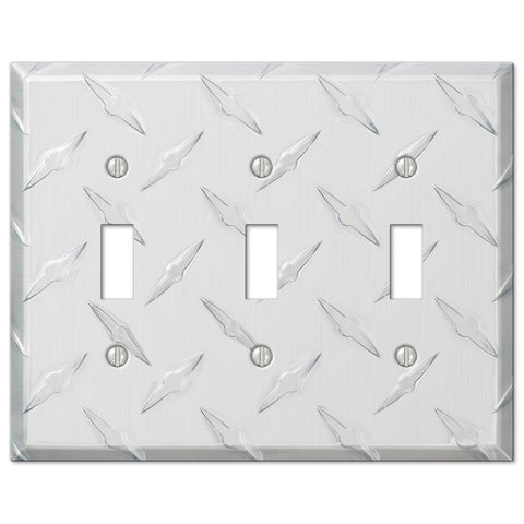 Diamond Plate Aluminum - 3 Toggle Wallplate - Wallplate Warehouse