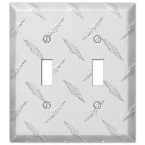 Diamond Plate Aluminum - 2 Toggle Wallplate - Wallplate Warehouse