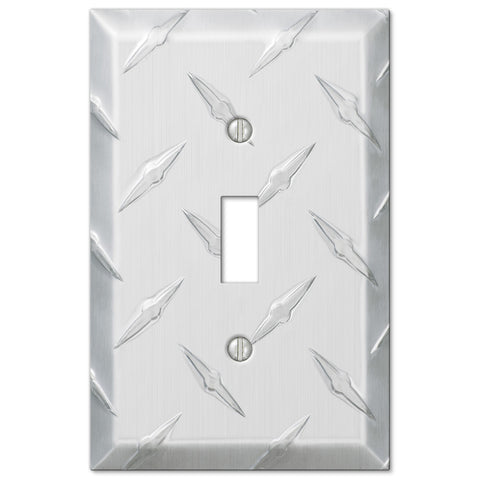 Diamond Plate Aluminum - 1 Toggle Wallplate - Wallplate Warehouse