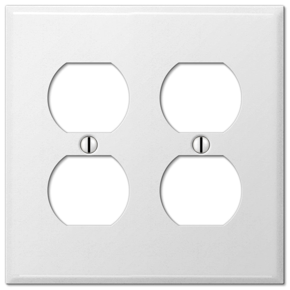 Pro White Smooth Steel - 2 Duplex Outlet Wallplate - Wallplate Warehouse