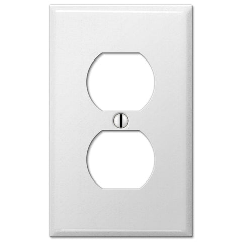 Pro White Smooth Steel - 1 Duplex Outlet Wallplate - Wallplate Warehouse
