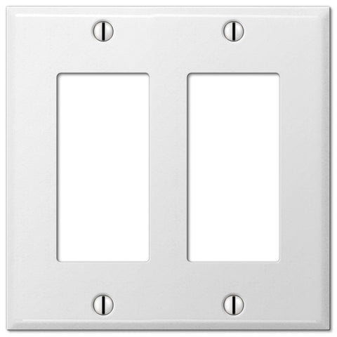 Pro White Smooth Steel - 2 Rocker Wallplate - Wallplate Warehouse