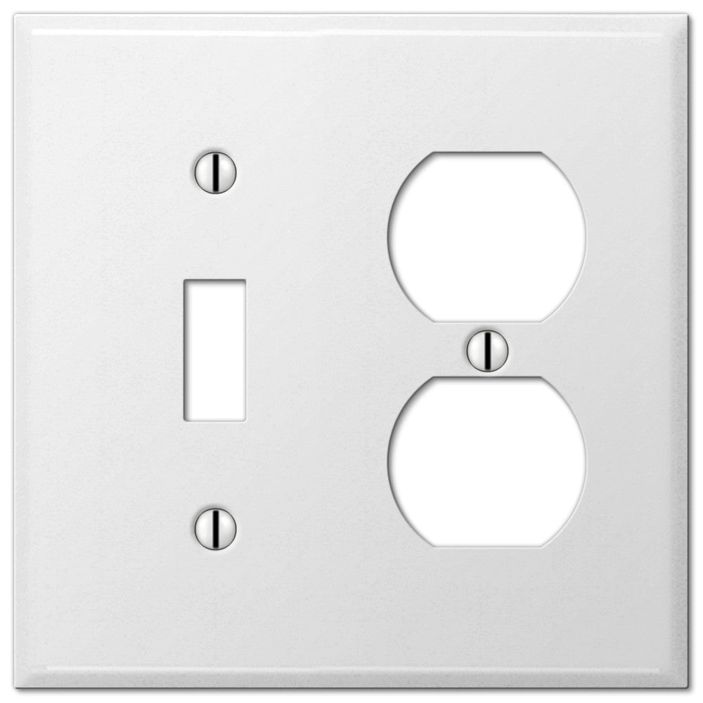 Pro White Smooth Steel - 1 Toggle / 1 Duplex Outlet Wallplate - Wallplate Warehouse