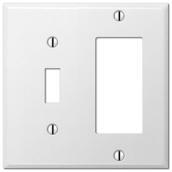Pro White Smooth Steel - 1 Toggle / 1 Rocker Wallplate - Wallplate Warehouse