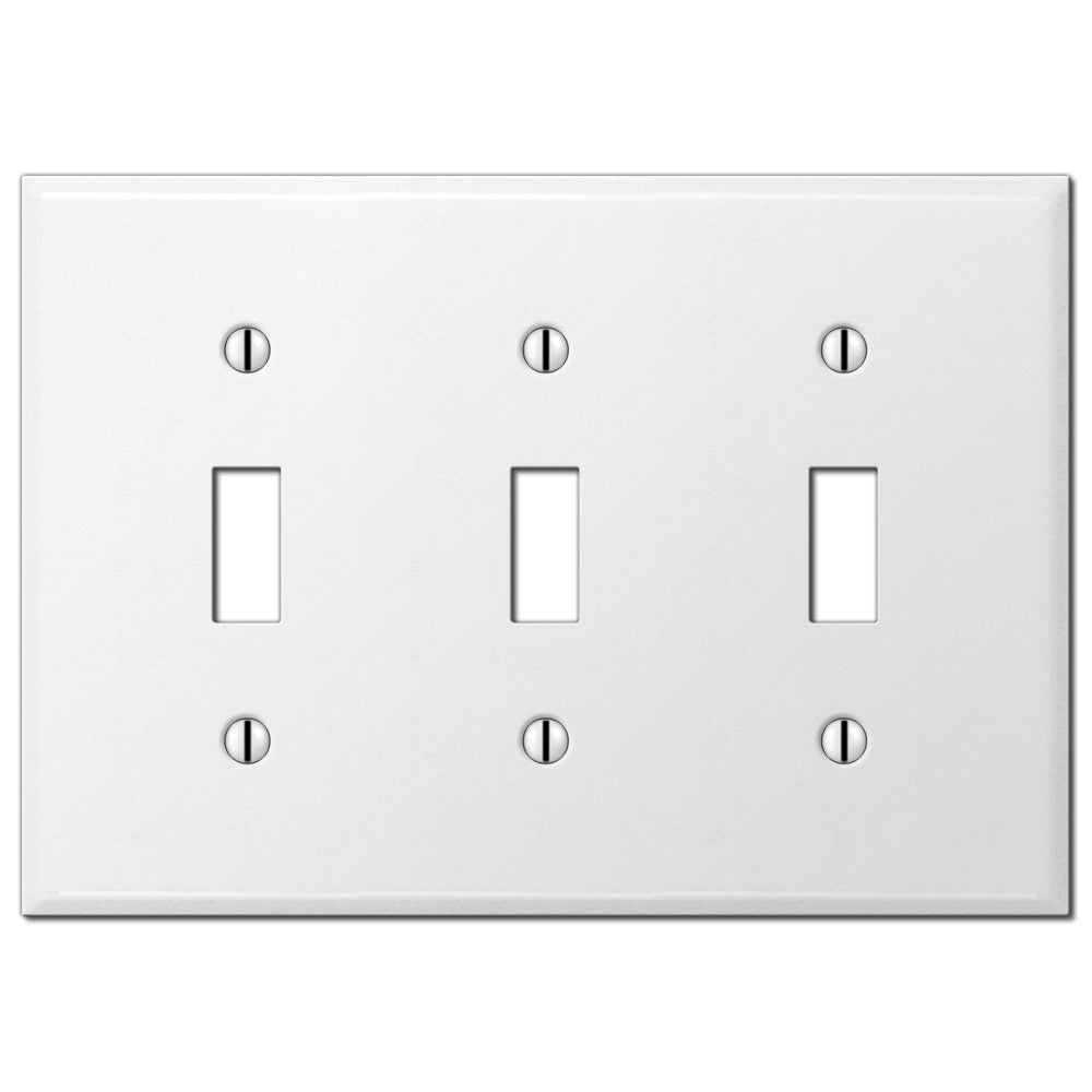 Pro White Smooth Steel - 3 Toggle Wallplate - Wallplate Warehouse