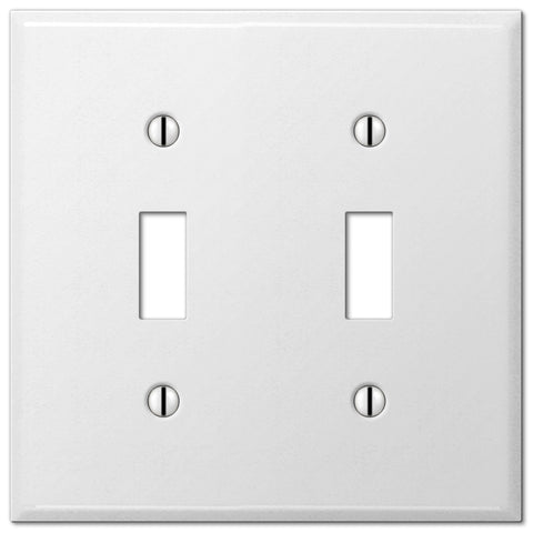 Pro White Smooth Steel - 2 Toggle Wallplate - Wallplate Warehouse