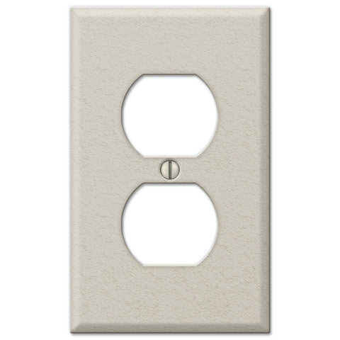 Pro Light Almond Wrinkle Steel - 1 Duplex Outlet Wallplate - Wallplate Warehouse